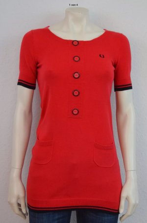 FRED PERRY KURZARM PULLOVER GR. 34 ROT LOGO