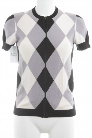 Fred Perry Short Sleeve Knitted Jacket check pattern athletic style