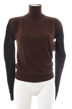 Fred Perry Rollkragenpullover schwarz-dunkelbraun Street-Fashion-Look