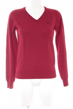 Fred Perry Strickpullover dunkelrot College-Look