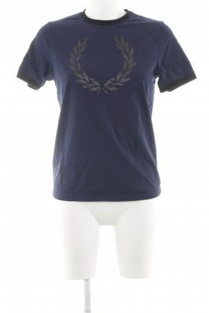 Fred Perry T-Shirt dunkelblau florales Muster Casual-Look