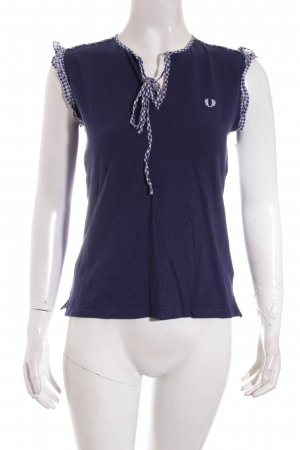 Fred Perry T-Shirt weiß-dunkelblau Karomuster Casual-Look
