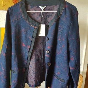 Freda Blazer jeansblau / rot Brokat Ausbrenner Gr.36/38 (T1) NEU