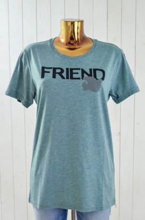 FREE CITY Damen T-Shirt FRIEND SUPERMÄT Baumwolle Print Blue Milk Melange Gr. L