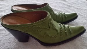 Heel Pantolettes green leather