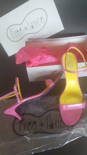 Sandalo con cinturino e tacco alto fucsia neon Pelle
