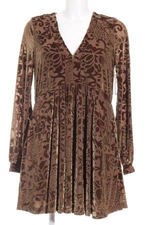 Free People A-Linien Kleid braun-goldfarben florales Muster extravaganter Stil