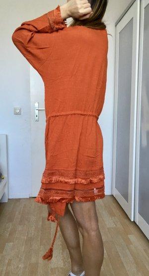 Free people blogger kimono cardigan orange braun Baumwolle fransen