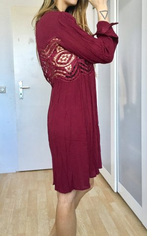 Free people blogger kleid langarm burgund wein rot spitze rayon xs s