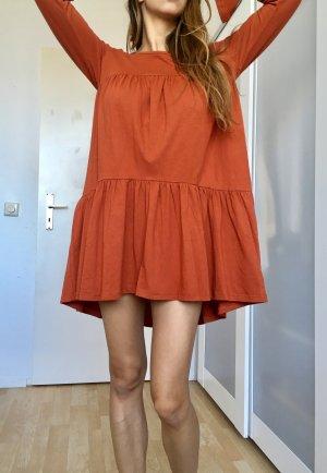 Free people blogger kleid langarm kurz rüschen orange braun Baumwolle xs s
