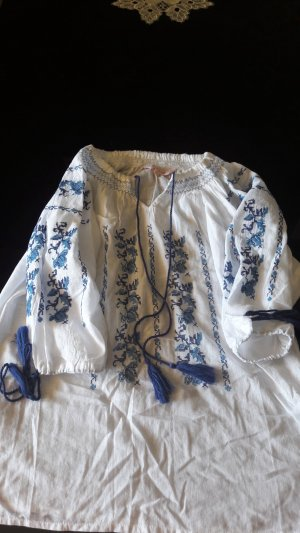 Free People Slip-over blouse wit-neon blauw Katoen