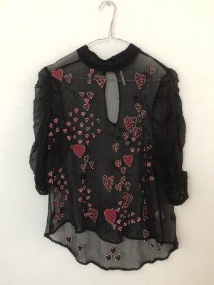 Free People Camisa de mujer negro-rosa