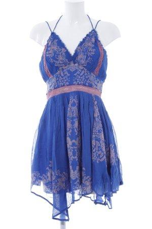 Free People Chiffonkleid blau Blumenmuster Boho-Look