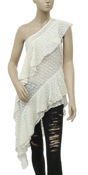 Free People Crochet Urban Romantic Shoulder Dress SIZE S