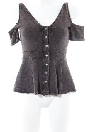 Free People Cropped Shirt dunkelgrau meliert Gypsy-Look