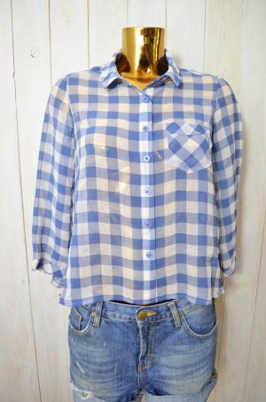 FREE PEOPLE Damen Bluse Chiffon Kariert 3/4-Arm Transparent Blau Ecru Gr.XS-S