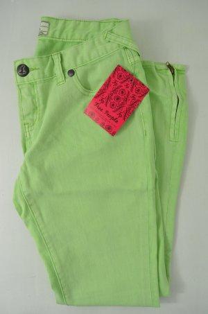 FREE PEOPLE Damen Jeans Slim Fit Zipper Baumwollgemisch Stretch Grün Gr.26 Neu!