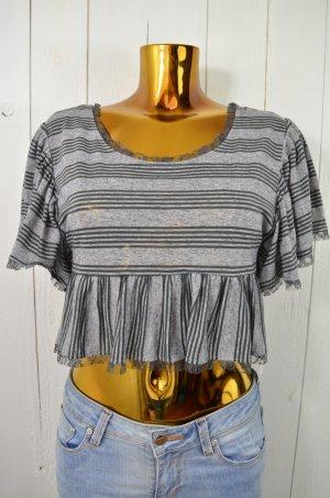 FREE PEOPLE Damen Oberteil Top T-Shirt Bauchfrei Streifen Rüschen Grau Gr.XS-S