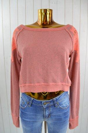 FREE PEOPLE Damen Pullover Sweatshirt Pullover Spitze Rundhals Hot Salmon Gr. XS