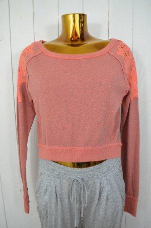 FREE PEOPLE Damen Sweatshirt Pullover Sweatie Hummer Grau Melange Spitze Gr.XS/S