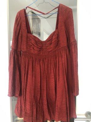 Free People Duchess Babydoll Silk Dress Seid Kleid Rot US 4 DE 36 NEU