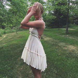 Free People Endless Summer dress Kleid Blogger dress weiss rüschen spitze S