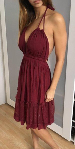 Free people endless summer dress kleid burgund wein rot rüschen spitze rayon s
