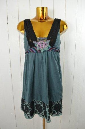 FREE PEOPLE Kleid Bestickt Baumwolle Grau Grün Schwarz Bestickt Ärmellos Gr.S