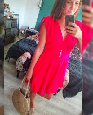 Free People Kleid rot Leinen Sommerkleid Minikleid