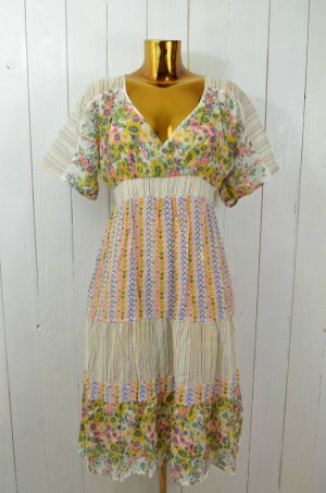 FREE PEOPLE Kleid Sommerkleid Lang Kurzärmelig Bunt Gemustert Etno Gr.S/ 36