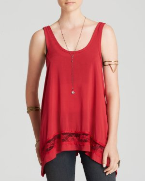 Free People A-lijn top rood-baksteenrood