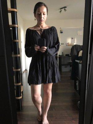 Free People luftiges Festival Hippiekleid Tunika Sommerkleid schwarz grau XS S 34 36