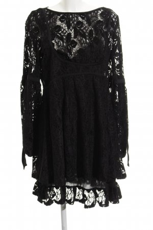 Free People Midi Dress black loosely knitted pattern casual look