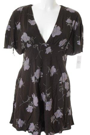 Free People Shirtkleid schwarz-flieder florales Muster extravaganter Stil