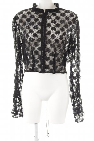 Free People Lace Blouse black-lime-green flower pattern party style