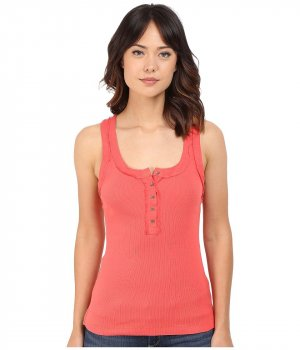 Free People Ribbed Shirt bright red-red