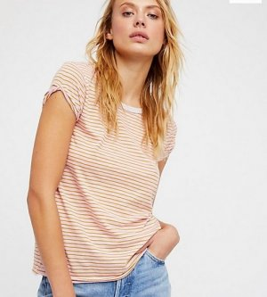 Free People We The Free Stripe Clare Tee Pink Combo