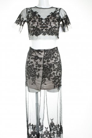 free & rose Kostüm schwarz-beige extravaganter Stil