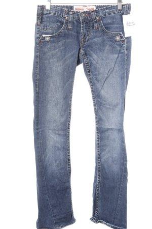 Freeman t. porter Boot Cut Jeans dunkelblau-wollweiß meliert Spitzenbesatz