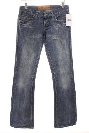 Freeman t. porter Boot Cut Jeans dunkelblau-wollweiß schlichter Stil