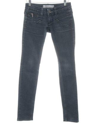 Freeman t. porter Slim Jeans schwarz-anthrazit Biker-Look