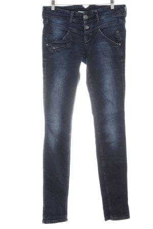 Freeman t. porter Straight-Leg Jeans dunkelblau-graublau Used-Optik