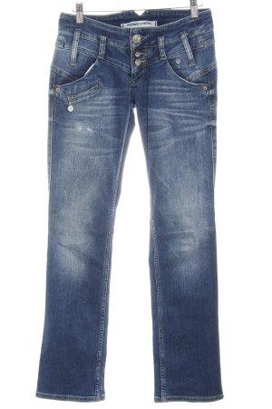 Freeman t. porter Straight-Leg Jeans dunkelblau-wollweiß Used-Optik