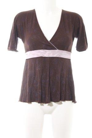 Freeman t. porter V-Ausschnitt-Shirt schwarzbraun-blasslila Mustermix