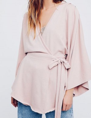 FreePeople: Sweattunika-Wickeljacke in rosa
