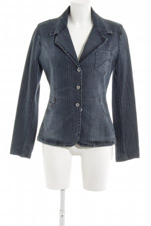 Freesoul Denim Blazer steel blue-white pinstripe casual look