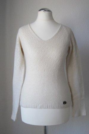 Freesoul Pullover in Weiß teils mit geometrischem Lochmuster