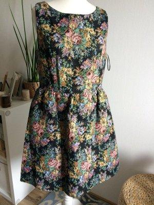 Freeway Herbst Kleid M 38 neu Blumen floral bestickt Stickerei Tweed Boucle
