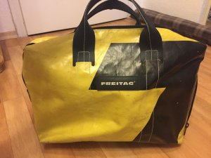 Freitag Borsa college giallo-nero Materiale di riciclaggio
