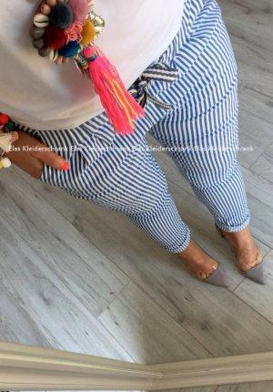 FreizeitHose mit Stripes/Streifen Hüfthose Röhre Skinny Jogpants Maritim Rockabella Blogger Hose Stretchhose passt bei S-L